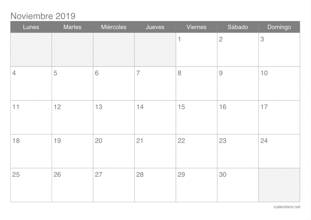 Calendario mes de Noviembre 2019
