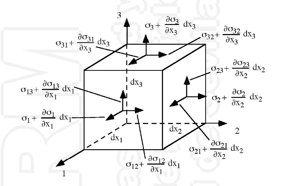 Cubo con ecuaciones de equilibrio interno
