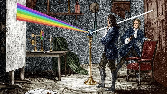 Newton en su taller con el experimento del prisma