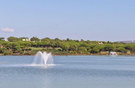 Fuente en medio de un lago
