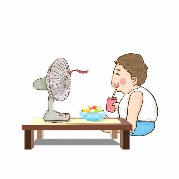 Niño con ventilador