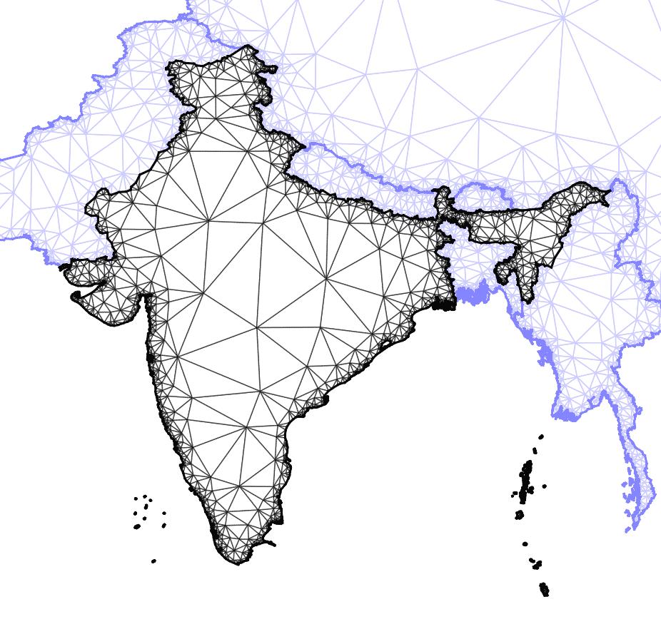 Aproximación de la superficie de un país por medio de triángulos