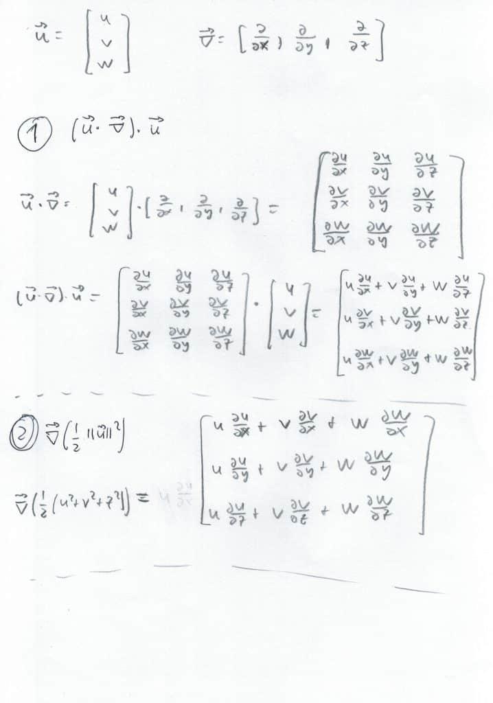 Página 1 de la demostración del término de la ecuación de Euler